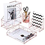 Nugoo 4 in 1 set di accessori da scrivania organizer file Holder, portalettere, portapenne e vassoio da scrivania, decorativo cancelleria organizzatore per home office Supplies, oro rosa