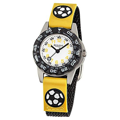 Regent Niños Reloj Fashion de Pulsera Analógico De Pulsera De Tela Negro Amarillo Reloj de cuarzo esfera blanco urf944