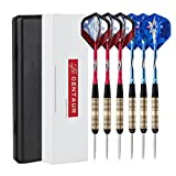 Centaur 6 Pack Steel Tip Darts 23 Grams with Aluminum Shafts and 2 Style Flights + Cases, Professional Metal Dart Tips Set