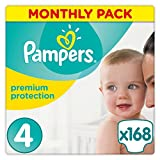 Pampers Premium Protection Nappies Monthly Saving Pack – Size 4, Pack 168