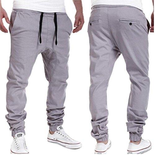 Pantalones de Trekking Hombre Pantalones de Softshell Summer Fashion tideway leisure Pantalones Sweatpant Ropa de hombres pantalones jogger casuales Xinan (L, Gris)
