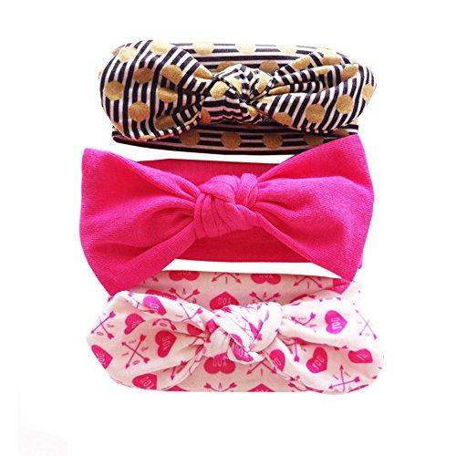Vellette Baby Mädchen Stirnbänder verknotete Baby Stirnbander Baby Top Knot Madchen Turban Headwrap Knot Stirnband Kleinkind Stirnband Vor Ort Kaninchenohren Knit 3 Stück