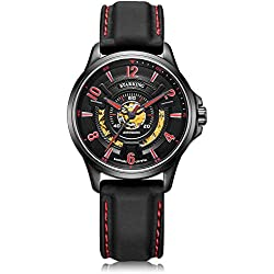 STARKING Men's AM0237BL25 3D Dial Skeleton Automatic Watch Black Red with Silicone Strap Buckle Clasp