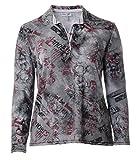 Serena Malin Damen Stretch Poloshirt Polohemd Grau Langarm xxl große Größen T-Shirt Blumen-Muster, Größe:50