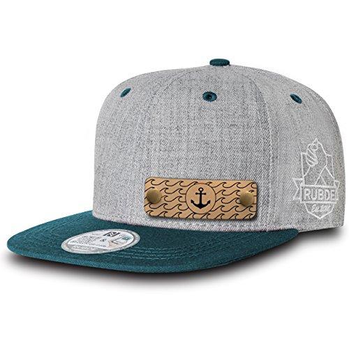 RUBDE Cap2 | Individuelle Snapback Cap Basecap Kappe mit Lederpatch, NFC-Sticker und QR-Code Größen - personalisierbar | Unisex - Herren Damen Kinder Kids | Petrol Dunkelgrün L -