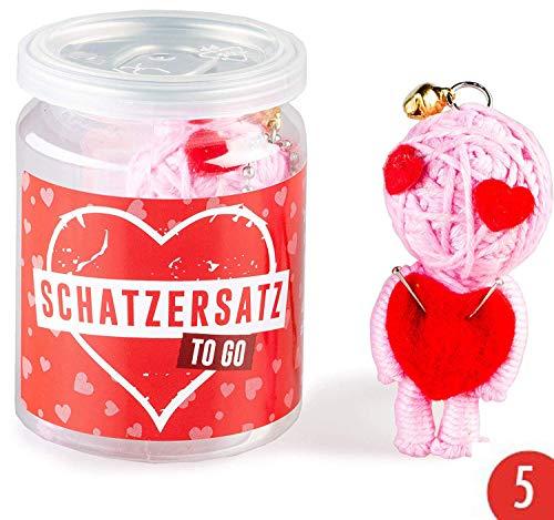 5er-Pack: Voodoo Doll in Dose | lustige Mini-Voodoo-Puppe to go | SCHATZERSATZ Voodoo-doll | unverzichtbar wenn der richtige Schatz unterwegs ist, bei Liebeskummer oder Problemchen mit dem Ex