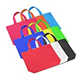 """26 Pcs Reusable Tote Bags Blank Canvas Party Favor Gift Bags Colorful Non-Woven Polyester Carrying Grocery,12.5"""" x 10"""""""