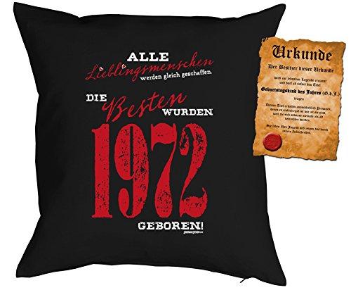 zum 45. Geburtstag Geschenkidee Kissen mit Füllung Lieblingsmenschen 1972 geboren Polster zum 45 Geburtstag für 45-jährige Dekokissen mit Urkunde