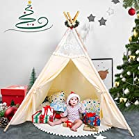 besrey Teepee Children Tipi Play Tent Kids Baby Tent with Window+ Flags+ Carry Pouch Lace White