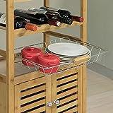 SoBuy® FKW53-N Servierwagen Küchenwagen mit Korb und Flaschenablage Küchenregal Rollwagen Bambus BHT ca: 56x92x36cm - 5
