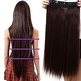 S-noilite® Mode Clip en Extensions de Cheveux Raides Longs Perruques Postiches 22 x 66cm brun moyen