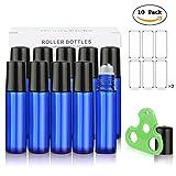 Botellas Roll On para Aceites Esenciales, 10ML (Azul Cobalto, Vacías, Paquete con 10) - Bolita de Acero Inoxidable, Empacadas de Forma Individual, Incluyen Abridor de Botellas y Etiquetas de Handy Picks
