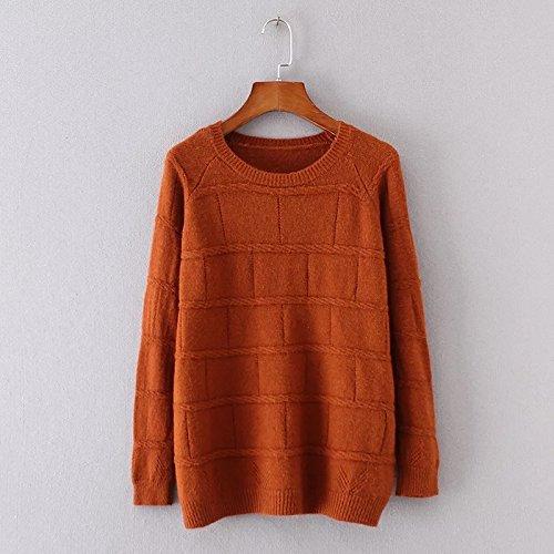 SZYL-Sweater Rundhals Pullover Damen Pullover Europa und Herbst Frauen wilde Plaid gestrickt, Ziegel rot, alle - Ziegel Zeigen