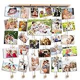 Love-KANKEI FAMILY Bilderrahmen Collage Fotorahmen Holzbilderrahmen mit 30 kleinen Holzklammern