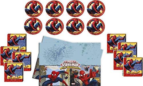 Marvel Spiderman Ensemble de Serviettes de Table pour 8 Enfants avec nappes et 8 Enfants Motif Spiderman