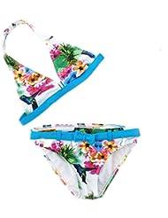 AMYMGLL Enfants bikini enfant du milieu maillot de bain enfant fille maillot environnemental élevé piscine pataugeoire élastique