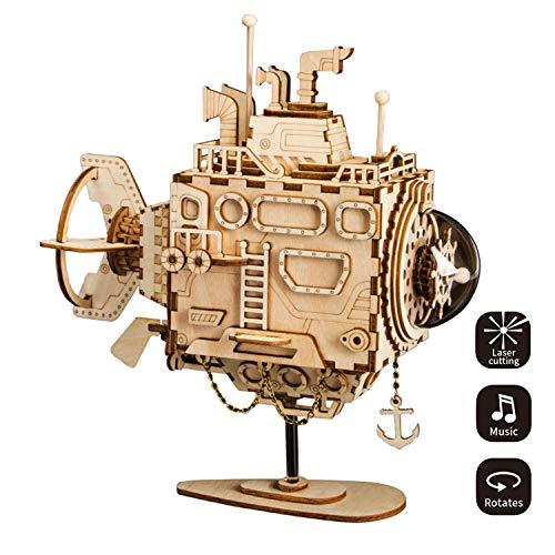 (XIAOYUE 3D-Holz Puzzle Mit Getriebe Hand-Craft Musical Box-Mechanische Modellbausätze Spielzeug Für Kinder Oder Erwachsene Geburtstags-/Kindertage/Ostern (U-Boot))