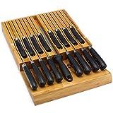 Utoplike in-drawer Bamboo portacoltelli cassetto organizzatore e supporto, adatta per 12coltelli ed un affilatoio 16 knife organizer Natural