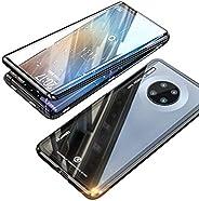 جراب هاتف Huawei Mate 30 Pro من EUDTH، بإطار معدني مغناطيسي كامل الجسم قابل للطي 9H زجاج مقاوم للكسر [من الأما
