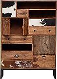 Kare Design Hochkommode Rodeo, Sideboard mit Kuhfellfronten, Regal mit 7 Schubladen und 4 Türen, Braun (H/B/T) 142x102x34cm