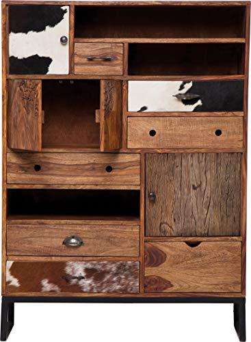 Kare Design Hochkommode Rodeo, Sideboard mit Kuhfellfronten, Regal mit 7 Schubladen und 4 Türen, Braun (H/B/T) 142x102x34cm - Braun 7 Schublade Kommode