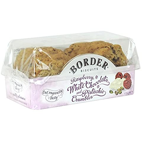 Border Biscuits - Raspberry, White Chocolate and Pistachio Crumbles - 175g (Case of 6)