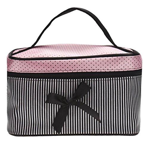 (Sunnywill Fashion Square Bow Streifen Kosmetische Beutel Große Volumen Wasserdichte Verfassungs Beutel für Frauen Mädchen Damen (Schwarz))