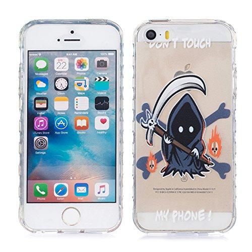iPhone 5 Hülle, E-Lush TPU Soft Silikon Tasche Transparent Schale Clear Klar Hanytasche für Apple iPhone 5 5S SE Durchsichtig Rückschale Ultra Slim Thin Dünne Schutzhülle Weiche Flexibel Handyhülle Kr Don't Touch My Phone