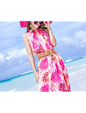 pllp Vestido de verano correa de gasa delgada, falda de la playa resort costero, vestido grande y grande,Rosado...