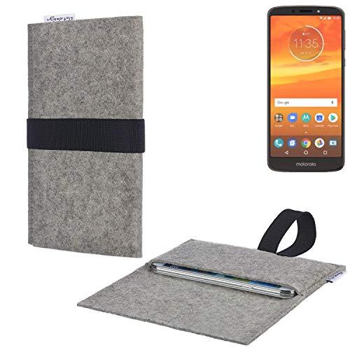 flat.design Handy Hülle Aveiro für Motorola Moto E5 Plus Dual-SIM passgenau Handytasche Filz Tasche fair schwarz hellgrau