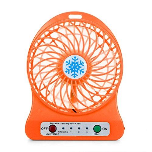Preisvergleich Produktbild FNKDOR Portable Rechargeable LED Light Fan Air Cooler Mini Desk USB 18650 Batterie Ventilateur (orange)