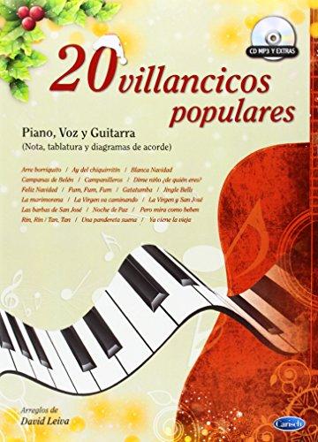 20 Villancicos Populares Piano, Voix, Guitare+CD por David Leiva Prados