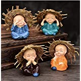 NRSON® Set of 4 Baby Hat Monk Buddha Idols Showpiece for Car Dashboard /Home Décor Decoration & Gifting Purpose