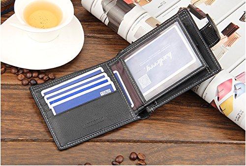 Weiche glatte echte Mens Leder Brieftasche mit Reißverschluss Münze Tasche und ID Fenster (schwarz) schwarz