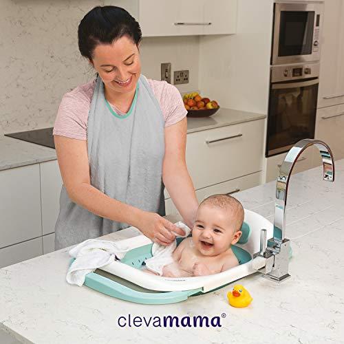 Clevamama vaschetta bagnetto neonato pieghevole, vasca da bagno per lavandino a soffietto, 0-12 mesi
