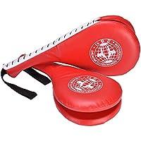 1par de Taekwondo Fighting de entrenamiento Karate boxeo almohadilla doble patada formación Gear mano caja, rojo
