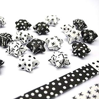 Papierstreifen zum Sterne Basteln | Origami Bastelset für 75 Lucky Stars | 6 versch. Muster in Schwarz - Weiß