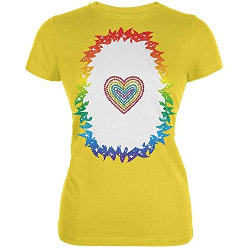 Halloween Regenbogen Herz Einhorn Kostüm Pony Junioren weichen T Shirt hell gelbe X-LG (Regenbogen Helles Kostüm Xl)