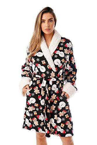 Just Love Sherpa Trim Plüsch Ugly Christmas Robes für Frauen - - X-Large Sherpa Trim Fleece