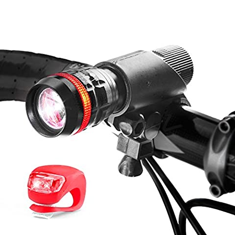 iKross Bike Light Set, Super Bright Mount LED Zoom Front Headlight Mount Holder + Flash Rear Back Tail Light for Bikes, Hybrid, Road, MTB, Mountain Bicycle, Cycle - Black / Red