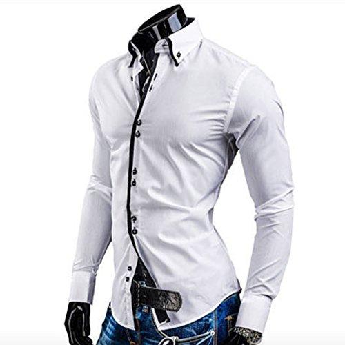 Homme Élégante Chemise de Loisir Manche Longue Carré Bouton Couleur Contrasté Blanc