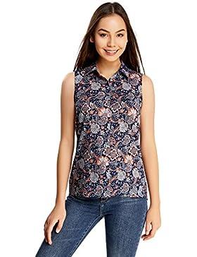 oodji Collection Mujer Blusa de Algodón con Estampado