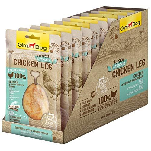 GimDog Tasty und Tender Chicken Leg, Getreidefreier Hundesnack aus zartem Fleisch, Weicher verzehrbarer Knochen mit natürlichem Kalzium, Zuckerfreies Leckerlie aus 100% Huhn, 10er Pack (10 x 70 g)