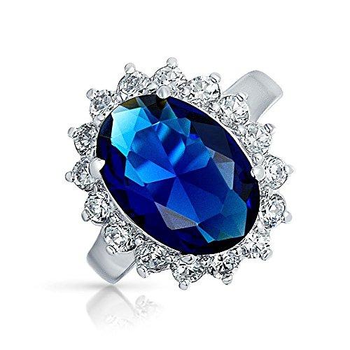 Bling Jewelry estilo Kate Middleton Plata Esterlina CZ 6ct Color Zafiro Anillo de Compromiso