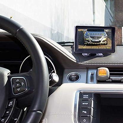 HSRpro-Rckfahrkamera-mit-Kennzeichenhalter-inkl-Monitor-Bis-zu-5-Jahre-Garantie-Drahtloser-Kabellose-Funk-oder-Kabel-Vinbindung-fr-PKW-KFZ-Auto-Bus-Transporter-Rear-View-Camera-Kamera