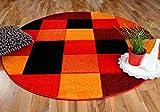 Pergamon Designer Teppich Brilliant Rot Orange Karo Rund in 3 Größen