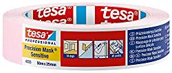 tesa 43330001801 Precision Mask Sensitive, Low Tack Masking Tape for Indoor Painting and Decorating, Residue Free Removal, 50 m x 25 mm