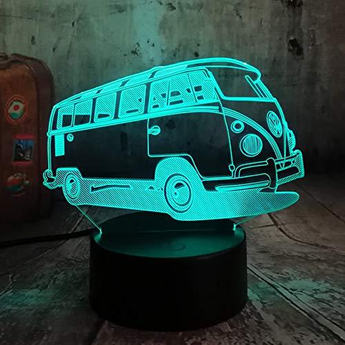 Neue 3D Patrol Bus LED 7 Farbwechsel Lava Nachtlicht Schlafzimmer Nachttischlampe Decor Kind Kind Weihnachten Halloween Spielzeug Geschenk
