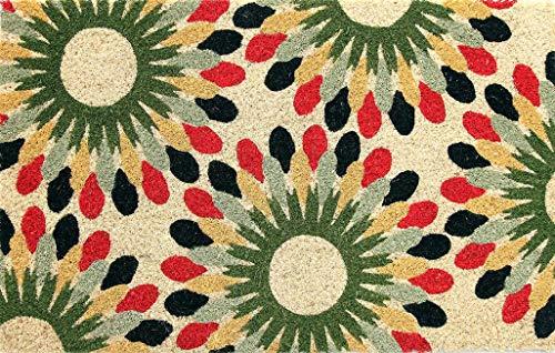 Coco & Coir Natural Coir | Antideslizante | Coco Grueso Respaldo de Goma | Ecológico | Interior | Exterior | Resistente | Serie de Flores | Felpudo | 45 x 75 cm (Indian Bloom)