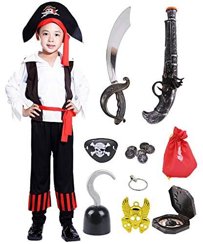 FAIRYRAIN 13 Pcs Kinder Jungen Halloween Piratenkostüm mit Piraten Zubehöre Piraten Hut Kompass Geldbeutel Gewehr Messer Outfits - Einfach Disney Themen Kostüm